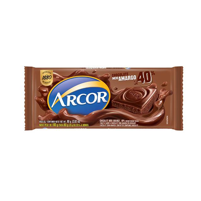 Chocolate em Barra Arcor Meio Amargo 40% Cacau 80g