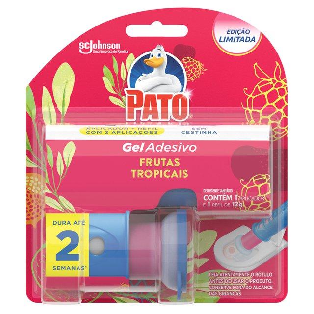Desodorizador Sanitário Pato Gel Adesivo Aplicador + Refil Frutas Tropicais Ed. Ltda 2 discos
