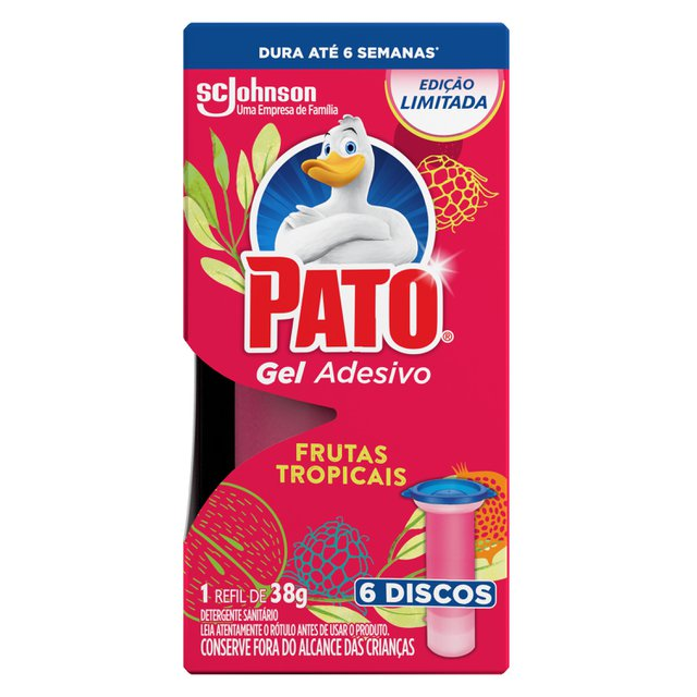 Desodorizador Sanitário Pato Gel Adesivo Refil Frutas Tropicais Ed. Ltda 6 discos