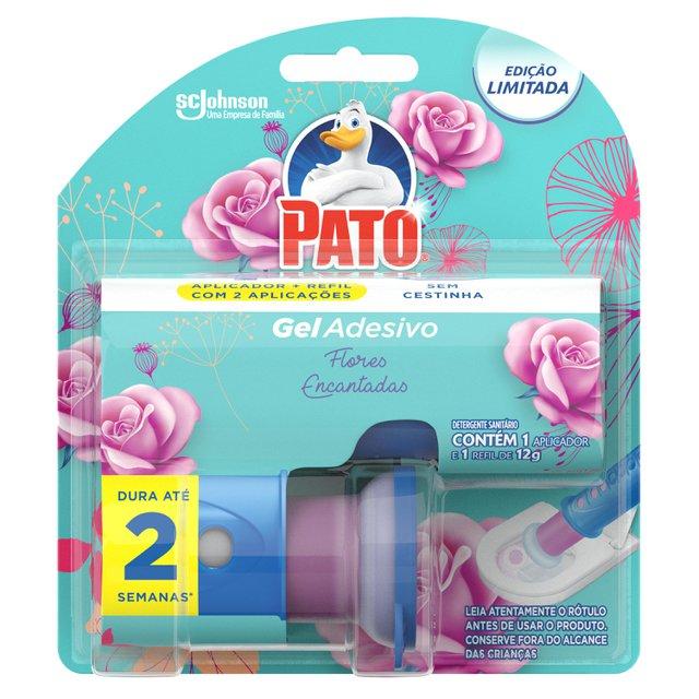 Desodorizador Sanitário Pato Gel Adesivo Aplicador + Refil Flores Encantadas Ed. Ltda 2 discos
