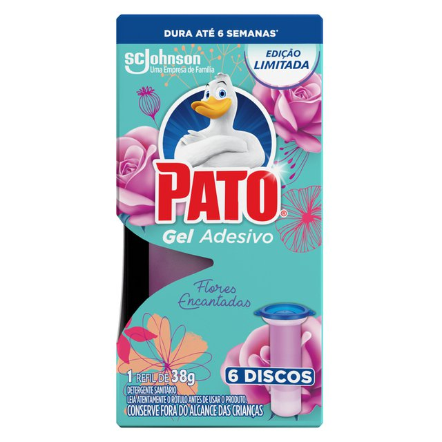 Desodorizador Sanitário Pato Gel Adesivo Refil Flores Encantadas Ed. Ltda 6 discos