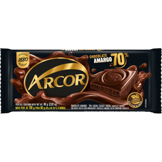 CHOCOLATE ARCOR AMARGO 70% CACAU 80G