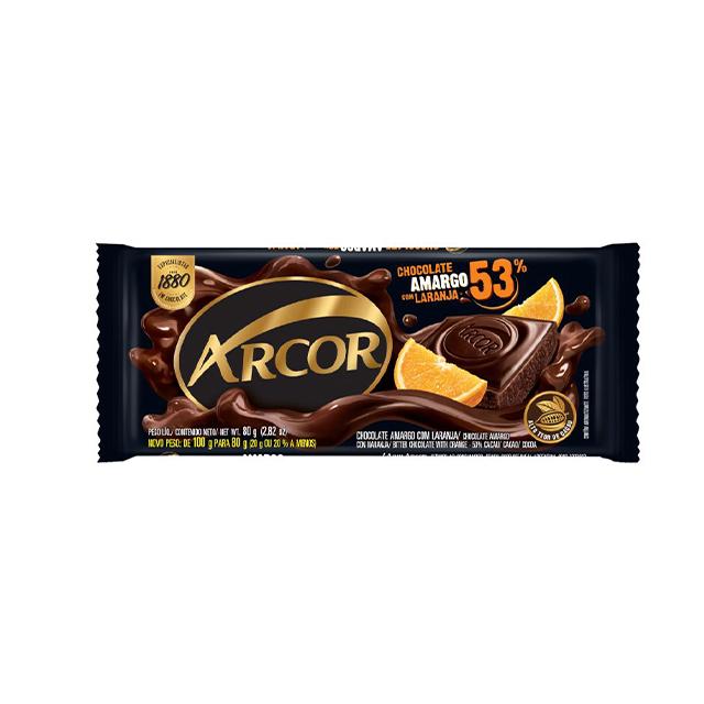 Chocolate em Barra Arcor Amargo 53% Cacau com Laranja 80g