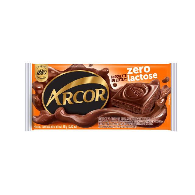 Chocolate em Barra Arcor Zero Lactose ao Leite 80g