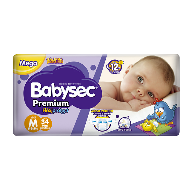 Fralda Softys Babysec Premium Tamanho M   Com 34 Unidades