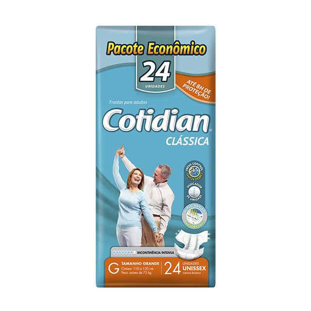 Fralda Geriátrica Softys Cotidian Clássica Tamanho G   Com 24 Unidades