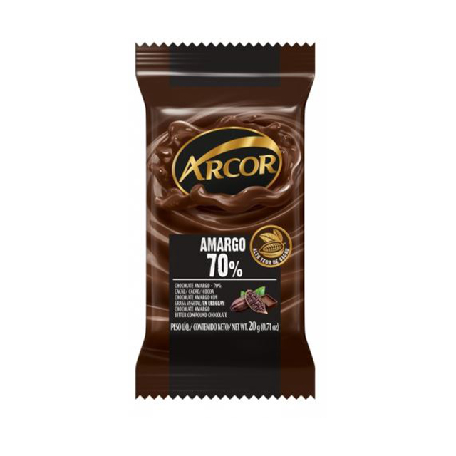 Chocolate em Barra Arcor Amargo 70% Cacau 20g