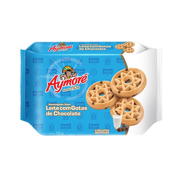 Biscoito Amanteigado Aymoré Leite Com Gotas De Chocolate 330g