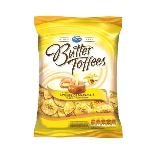 Bala Recheada Arcor Butter Toffees Maracujá 500g
