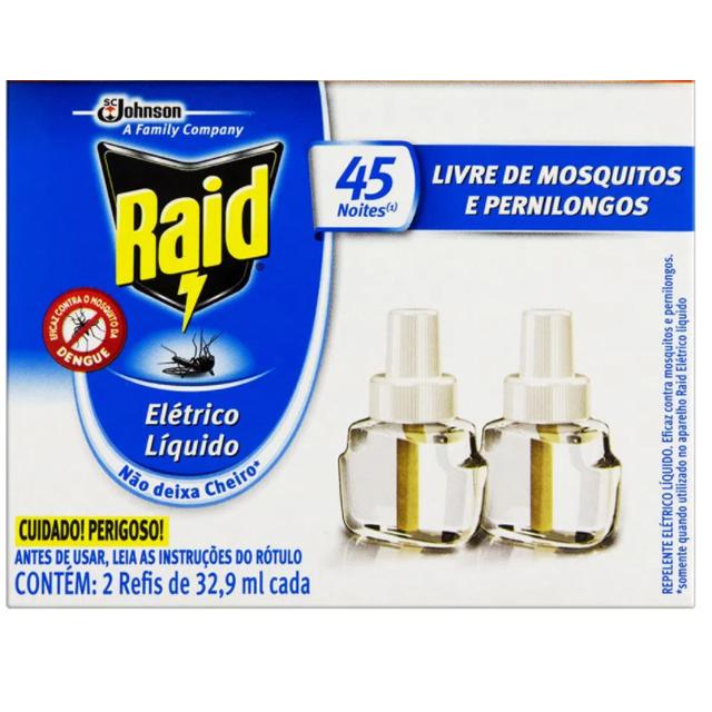 Epelente Elétrico Líquido Raid Family Refil Regular 2 Unidades 32,9 Ml Cada