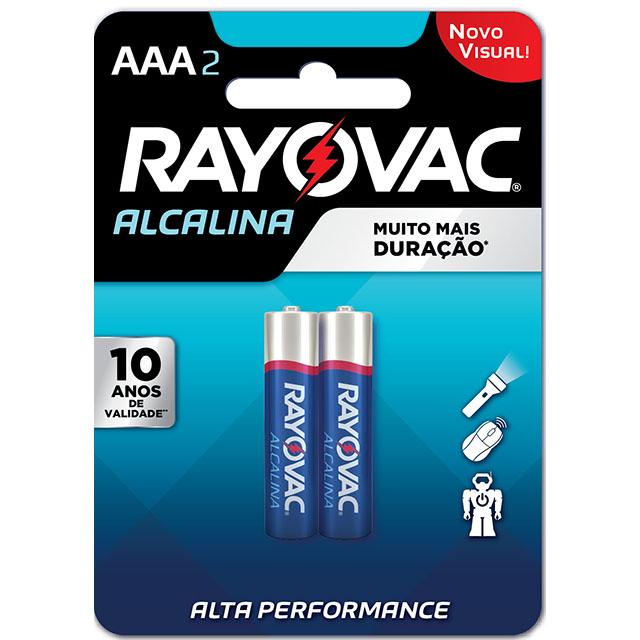 Pilha Rayovac Alcalina Palito AAA2 | Com 2 Unidades