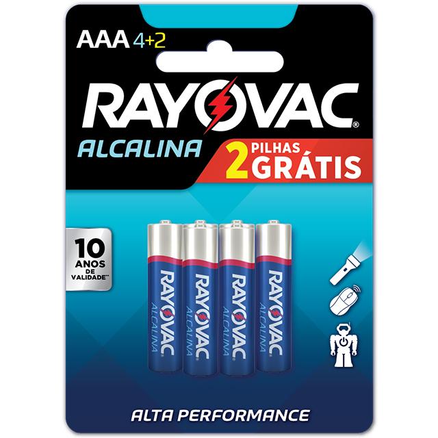 Pilha Rayovac Alcalina Palito AAA4+2 Leve 6 Pague 4 Unidades
