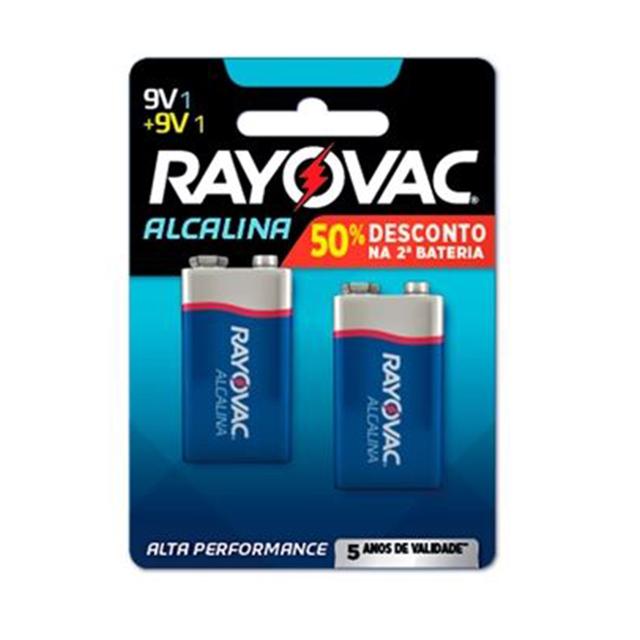 Bateria Rayovac Alcalina 9V | Com 2 Unidades 50% de Desconto