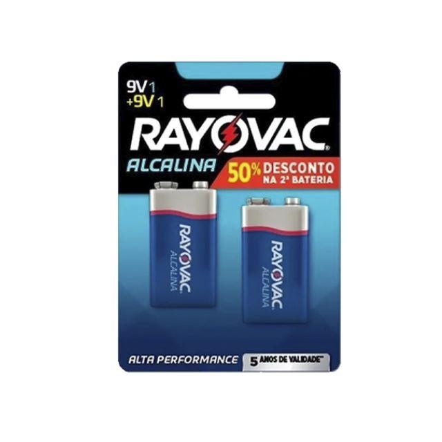 Bateria Rayovac Alcalina 9v   Com 2 Unidades 50% De Desconto