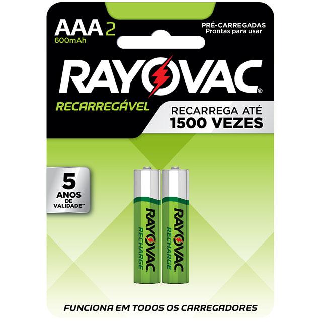 Pilha Recarregável Rayovac Palito AAA2 | Com 2 Unidades