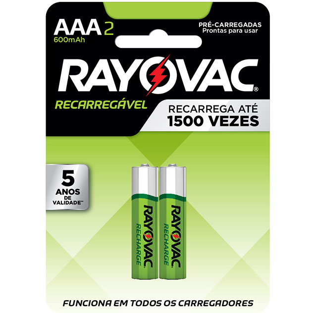 Pilha Recarregável Rayovac Palito AAA2   Com 2 Unidades